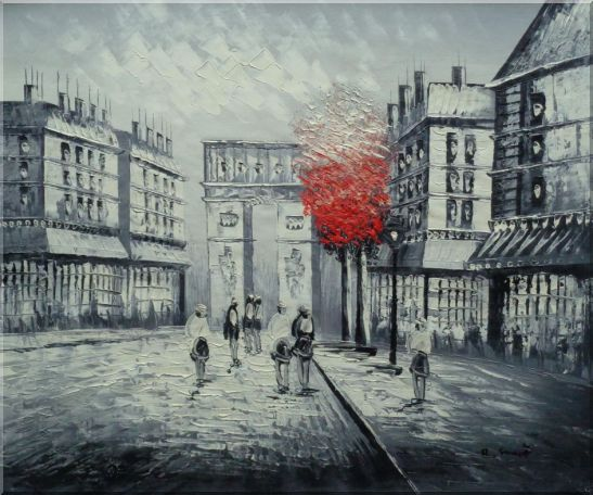 Black And White Paris Arc De Triumph With Red Tree Oil Painting Cityscape France Impressionism 20