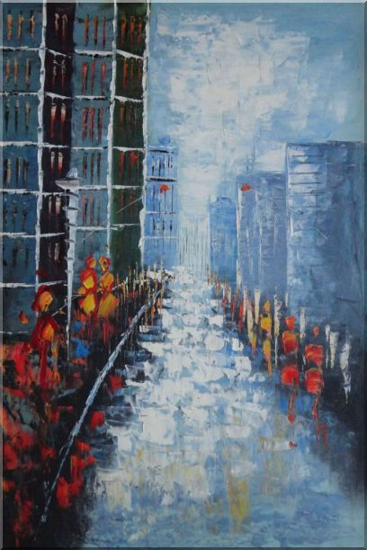 Modern Cityscape with People Walking on Street Oil Painting Impressionism 36 x 24 Inches