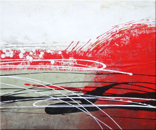 Red, White and Black Modern Art Oil Painting Nonobjective Decorative 20 x 24 Inches