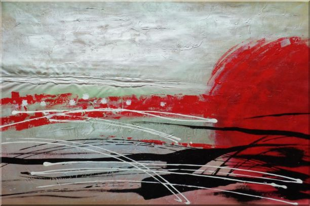 Red, White and Black Modern Art Oil Painting Nonobjective Decorative 24 x 36 Inches