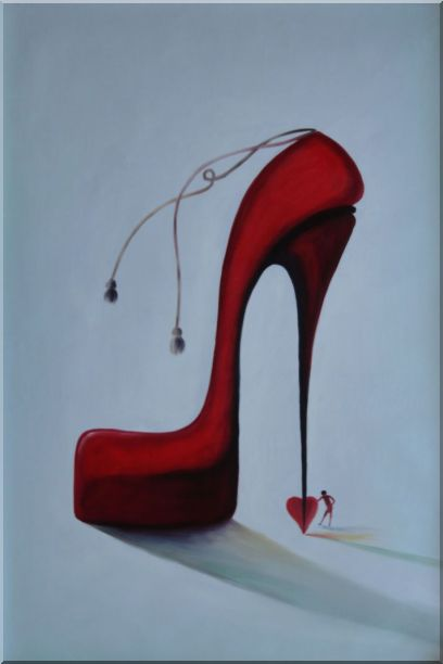 My Lady's Love Sky High Heels Oil Painting Portraits Woman Modern 36 x 24 Inches