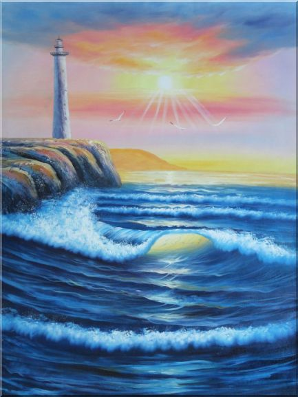 Huge Coastal Lighthouse With Flying Birds at Sunset Oil Painting Seascape America Naturalism 48 x 36 Inches