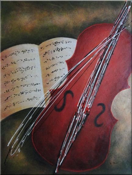 Cello and Musical Script Book in Modern Setting Oil Painting Still Life Decorative 48 x 36 Inches