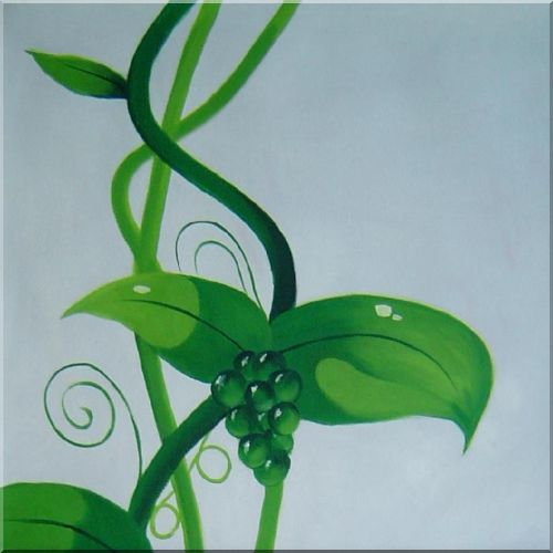 Green Plant and Red Butterfly Modern Oil Painting - 2 Canvas Set 2-canvas-set,flower decorative  40 x 20 inches