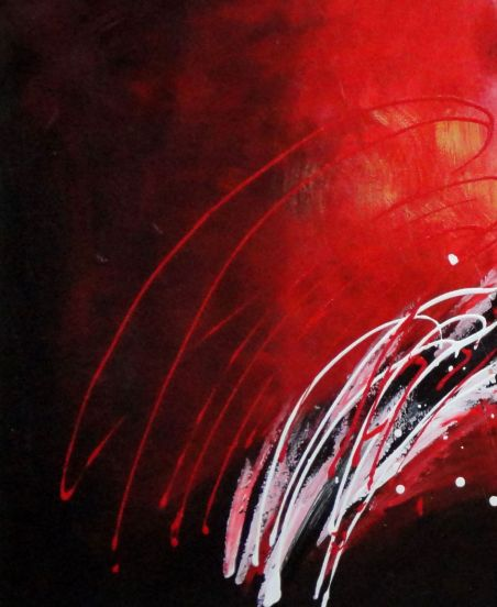 Reed Moving in Wind in Red Abstract Oil painting - 3 Canvas Set 3-canvas-set,nonobjective decorative  24 x 60 inches
