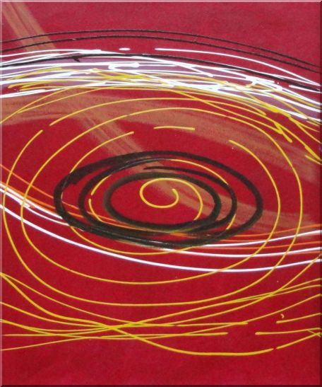 Yellow, Black and White Circles in Red Abstract Oil painting - 3 Canvas Set 3-canvas-set,nonobjective decorative  24 x 60 inches