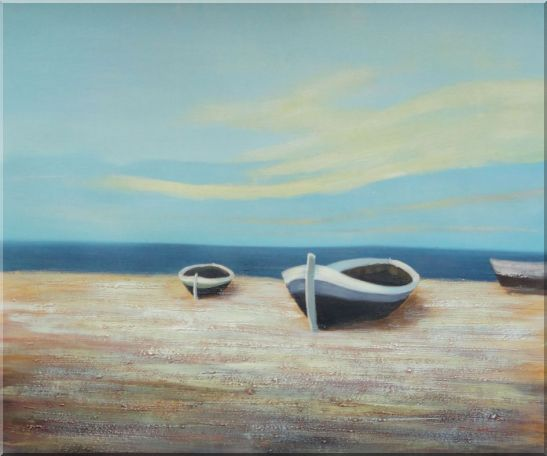 Boats On Shore Oil Painting Decorative 20 x 24 Inches