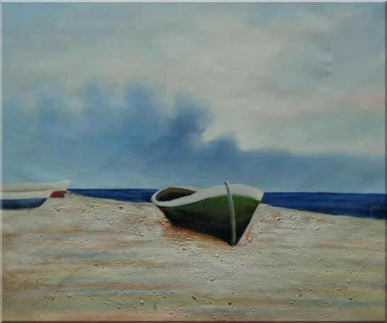 Rowing Boats Resting on Shore Oil Painting Decorative 20 x 24 Inches