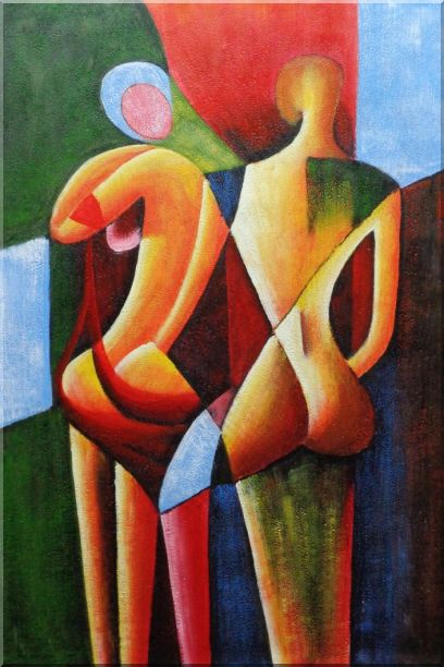 Nude Couple in Love Oil Painting Portraits Modern Cubism 36 x 24 Inches