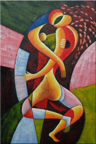 Cubism Romantic Nude Couples - 2 Canvas Set 2-canvas-set,portraits,couple modern, cubism  36 x 48 inches