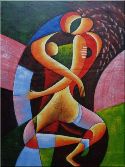 Hugging Lovers Oil Painting Portraits Couple Modern Cubism 48 x 36 Inches
