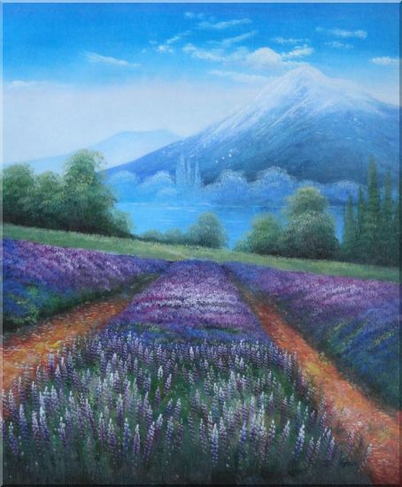 Blue Lavender Field in French Mountain Countyside Oil Painting Landscape Naturalism 23 x 19 Inches