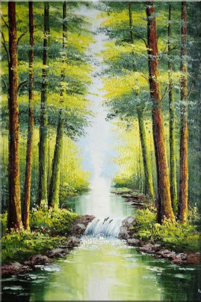 Small Waterfall in Early Autumn Oil Painting Landscape Tree Naturalism 36 x 24 Inches
