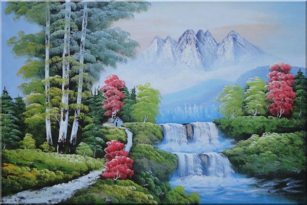 Water from Snow Mountain Oil Painting Landscape Waterfall Naturalism 24 x 36 Inches