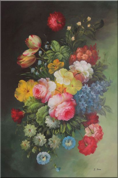 Still Life with Flowers Oil Painting Bouquet Classic 36 x 24 Inches