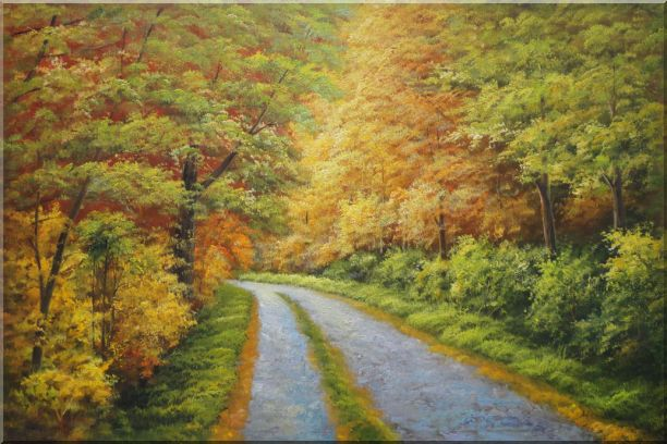 Peaceful Path in Golden Autumn Forest Oil Painting Landscape Tree Naturalism 24 x 36 Inches
