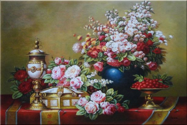 Red, Pink Roses and Other Colorful Flowers, Cherry and Exquisite Light Pot Oil Painting Still Life Bouquet Classic 24 x 36 Inches
