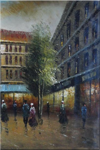 Parisian Street Scene At Dusk Oil Painting Cityscape France Impressionism 36 x 24 Inches