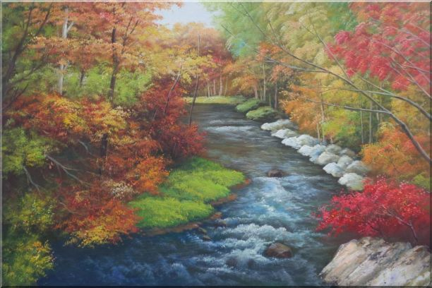 A Creek Passing Through Beautiful Autumn Forest Oil Painting Landscape River Naturalism 24 x 36 Inches