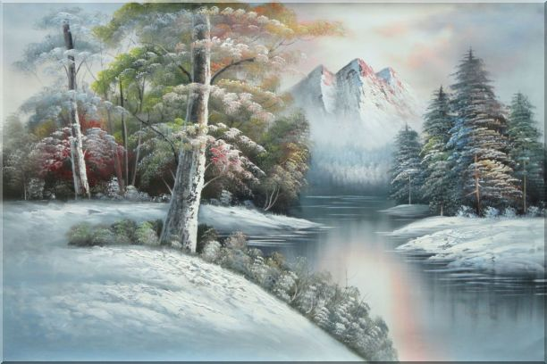 Snow-Covered River and Mountain Scenery Oil Painting Landscape Winter Naturalism 24 x 36 Inches