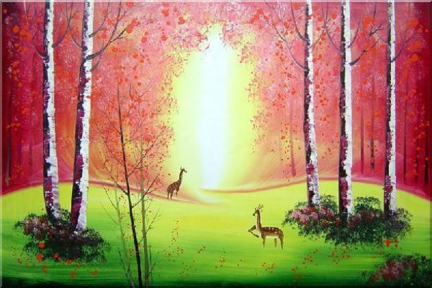 Deer Play in Red and Yellow Site in Forest Oil Painting Animal Naturalism 24 x 36 Inches