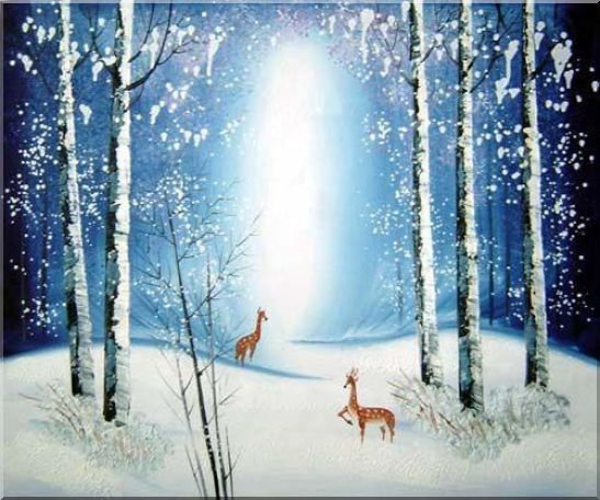 Deer in Winter Snow Forest in Moonlight Oil Painting Animal Impressionism 20 x 24 Inches