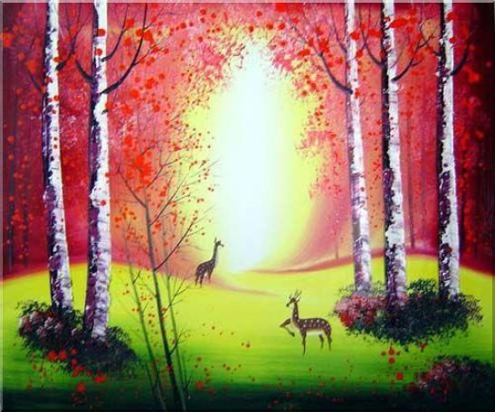Deer Playing in Red and Yellow Forest Oil Painting Animal Impressionism 20 x 24 Inches