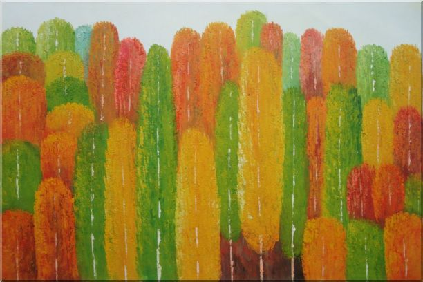 Yellow, Red and Green Aspen Forest Impression Oil Painting Landscape Tree Modern 24 x 36 Inches