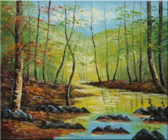 Trees on a Swamp under Blue Sky Oil Painting Landscape Naturalism 20 x 24 Inches