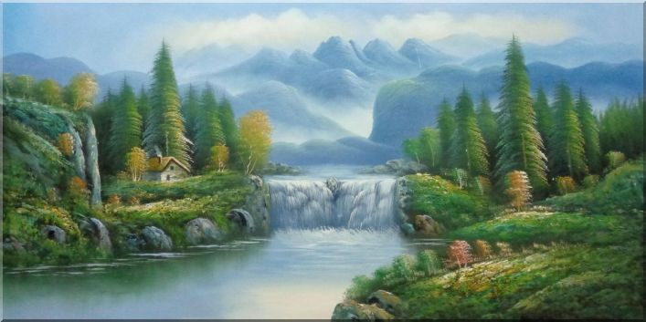 Waterfall, Lake, Peaceful Mountain Scenery Oil Painting Landscape Naturalism 24 x 48 Inches