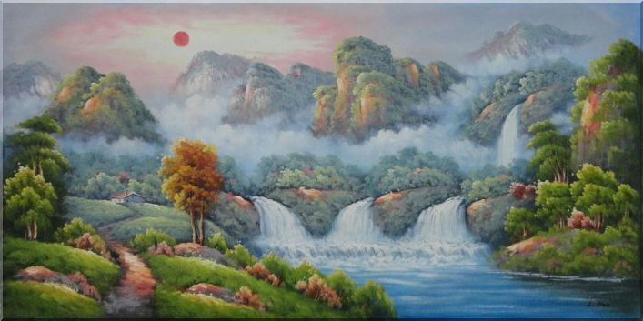 Paradise With Waterfalls, Mountain, Trees And Cottage Oil Painting Landscape Asian 24 x 48 Inches