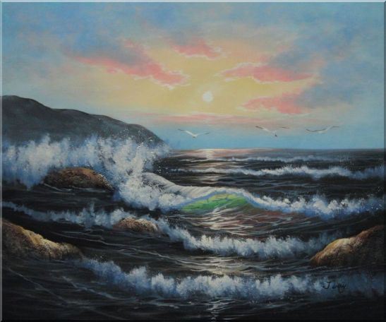 Sea Waves, Sea Birds, Rocks On Sunset Oil Painting Seascape Naturalism 20 x 24 Inches