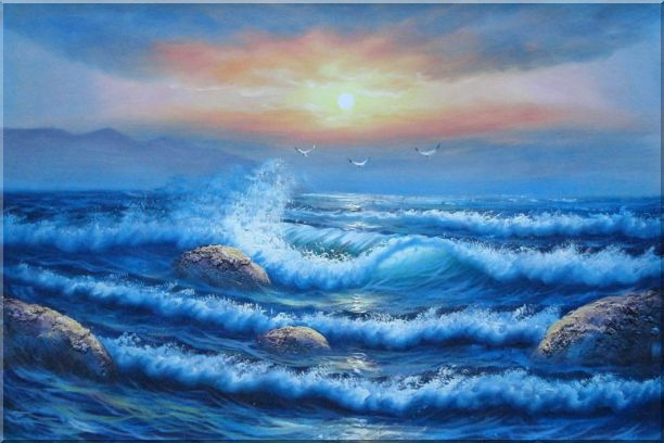Sea Waves, Sea Birds, Rocks on Sunset Oil Painting Seascape Naturalism 24 x 36 Inches