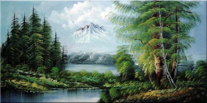 Peaceful Lake, Forest and Snow Mountain View Oil Painting Landscape River Naturalism 24 x 48 Inches