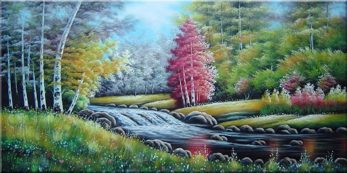Beautiful Riverside Autumn Forest Scenery Oil Painting Landscape Naturalism 24 x 48 Inches