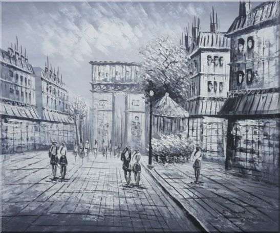 Black White Paris Arc de Triomphe Oil Painting Cityscape Impressionism 20 x 24 Inches