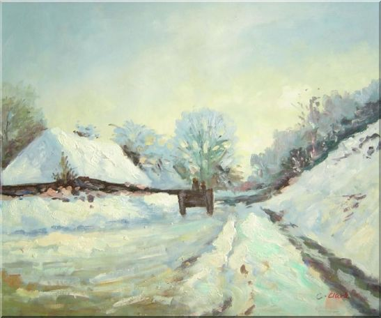 The Carriage, the Road to Honfleur under Snow, Claude Monet Oil Painting Village France Impressionism 20 x 24 Inches