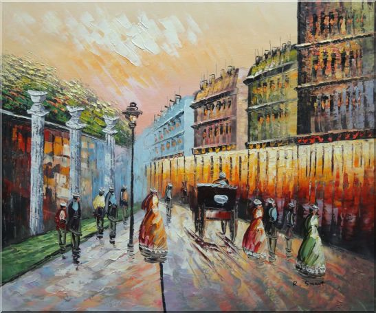 Stroll on Paris Street Scene Oil Painting Cityscape France Impressionism 20 x 24 Inches