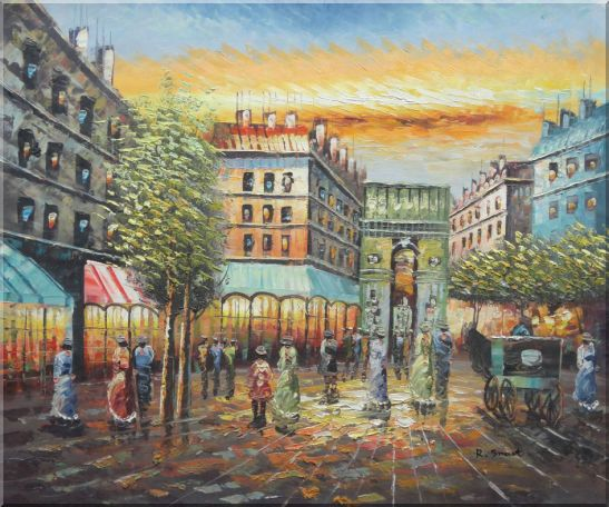 Strolling People Near Paris Arc de Triumph Oil Painting Cityscape France Impressionism 20 x 24 Inches