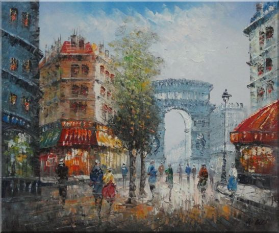 Twilight at Arc de Triomphe with Walking People Oil Painting Cityscape France Impressionism 20 x 24 Inches