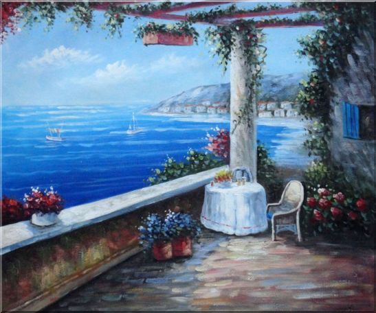Enchanting Retreat, Lovely Mediterranean Patio Oil Painting Naturalism 20 x 24 Inches