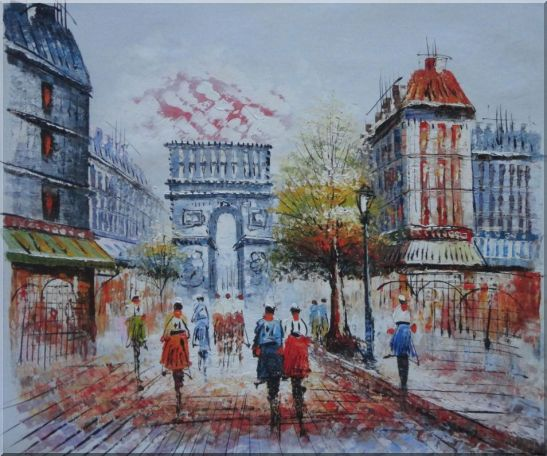 People Stroll Along Boulevard Near Arc de Triomphe Paris City at Dusk Oil Painting Cityscape France Impressionism 20 x 24 Inches