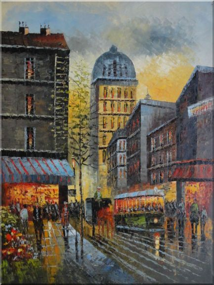 New York Busy City Street in Dawn Oil Painting Cityscape Impressionism 48 x 36 Inches