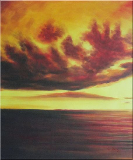 Setting Sun Kindle the Sky Oil Painting Landscape Naturalism 24 x 20 Inches