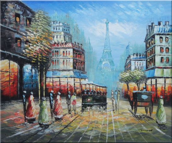 Paris Street and Relaxed Pedestrian Oil Painting Cityscape France Impressionism 20 x 24 Inches