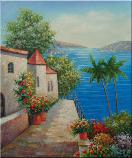 Retreat at Mediterranean Coast Oil Painting Naturalism 24 x 20 Inches