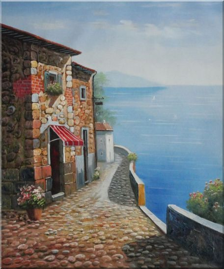 Beautiful Mediterranean Stone House - 2 Canvas Set 2-canvas-set,mediterranean naturalism  24 x 40 inches