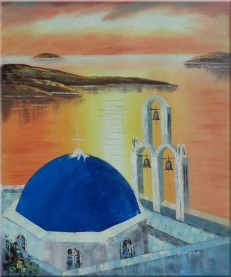 Sunset of Serenity Bay in Santorini Island Oil Painting Mediterranean Religion Naturalism 24 x 20 Inches