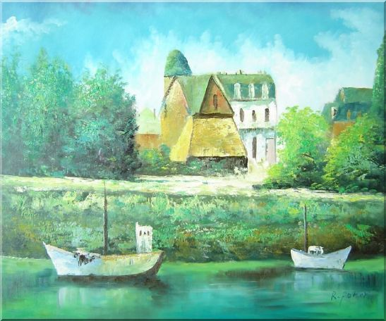 Serene Riverside Boats and Houses Oil Painting Impressionism 20 x 24 Inches