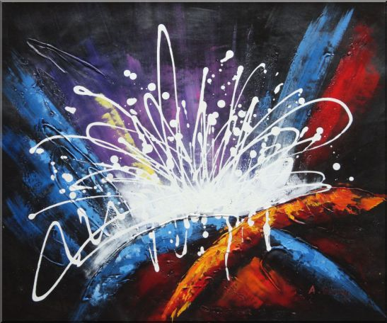 Modern Splendid Fireworks Oil Painting Nonobjective Decorative 20 x 24 Inches